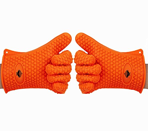 Borsez Heat Resistant Kitchen Cooking Gloves. Ideal for BBQ, Grilling and Oven Baking. Premium Quality FDA Approved Silicone Gloves. Waterproof and Stain Resistant. Indoor and Outdoor Use - Orange