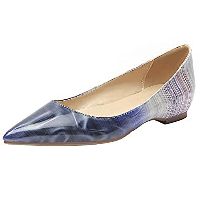 KemeKiss Women Fashion Spring Summer Shoes Comfortable Ballet Shoes Slip On Pumps Pointed Toe Office Shoes Patent Blue Size 33 Asin