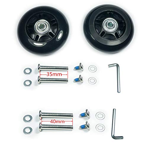 YongXuan Mute Wear-Resistant Luggage Suitcase Replacement Wheels Kit Inline Outdoor Skate Replacement Wheels (75mm × 24mm)