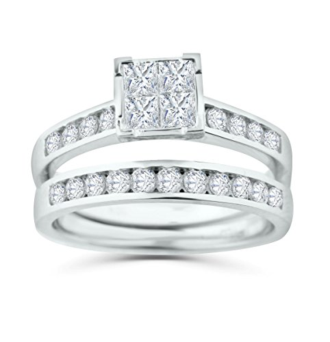 Diamond Bridal Set 10K Gold Engagement Ring / Wedding Ring Set Princess Cut White Gold 10k 2pc Set (1/2ctw, i2/i3, I/j) (white-gold, 10) (6) by Midwest Jewellery