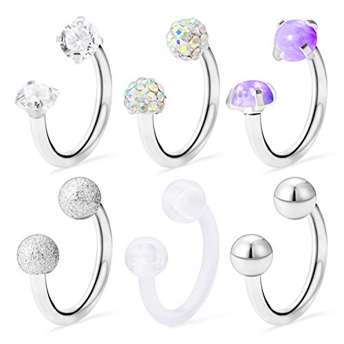 - Ocptiy 6PCS 16G Stainless Steel Purple Opal Crystal CZ Ball Nose Septum Horseshoe Earring Eyebrow Lip Helix Tragus Cartilage Piercing Ring for Mens Womens 8mm