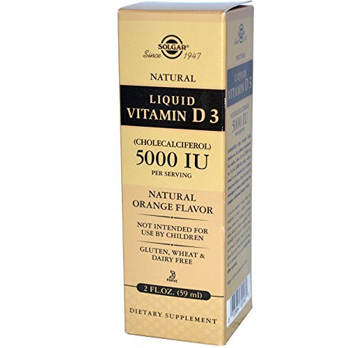 Solgar, Liquid Vitamin D3, 5000 IU Per Serving, Natural Orange Flavor, 2 fl oz (59 ml) - 2pc