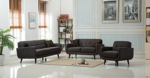 Roundhill Furniture 3 Piece Modibella Contemporary Living Room Sofa Set, Loveseat and Chair, Taupe