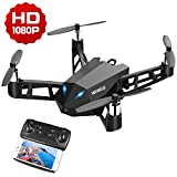 WiMiUS DR10 WiFi PFV Drone with 1080P HD Camera Live Video RC Quadcopter with APP Control, Altitude Hold, 360° Flip, One Key Take Off/Landing 2.4G 4CH 6 Axis Gyro for Beginners and Kids Black