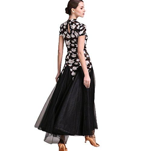 Donna Stampata xl Da Valzer Moderno Lunghe D'acero Costume Black Maniche Abbigliamento Pratica Sala Ballo Xxl Professionale Wqwlf Abito Di Foglia xSfqCa