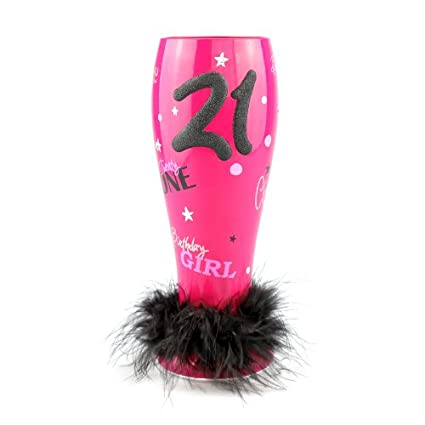 TOP SHELF TS 4602C Pink Decorative Hand Painted 21st Birthday Pilsner Unique Beer Glasses