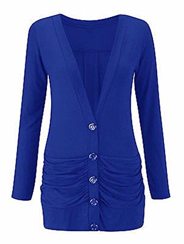 de avant taille manches EU Womens royal Ladies Cardigan Mesdames 42 Bleu V Dames Neck Rouche Femme bouton longues 54 8RqawqX5Oy