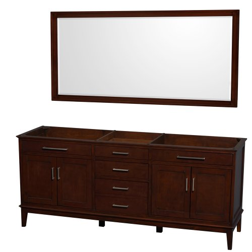 Wyndham Collection Hatton 80 inch Double Bathroom Vanity in Dark Chestnut, No Countertop, No Sinks, and 70 inch Mirror