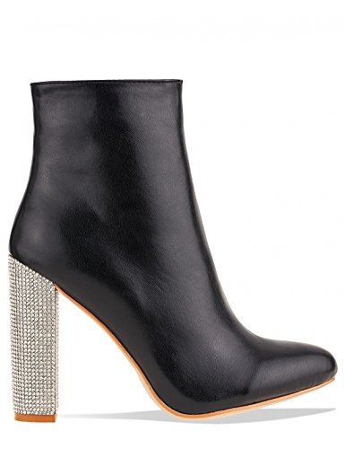 LAMODA Womens Diamante Heel Detail Ankle Boots in Black Faux Suede Black jV354p