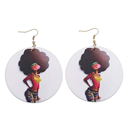 KISSFRIDAY African Women Wooden Painted Ethnic Girl Pattern Pendant Personality Jewelry