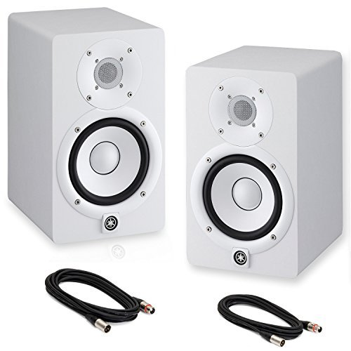 Yamaha HS5 Powered Studio Monitors Pair WHITE w/XLR Cables - Bundle ()