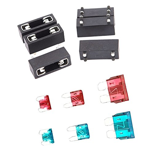 Dovewill 6pcs Plastic PCB Mount 20mm Fuse Holder with 10A 15A Mini Small Standard Fuse Kit