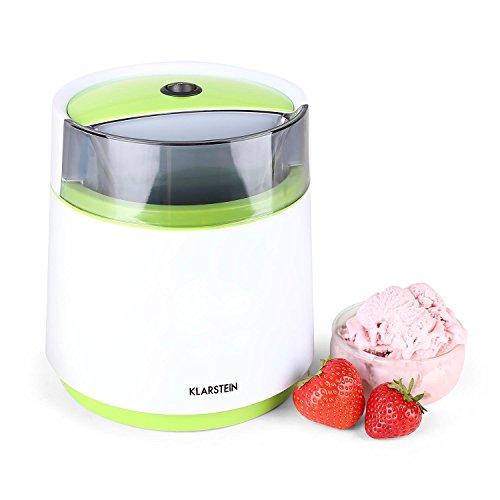 Klarstein Bacio Azzurro Speiseeis Eisbereiter kleine Eismaschine für Zuhause ideal für Soft- und Speiseeis, Milchshakes und Frozen-Yoghurt (0,8 Liter Eiscrememaschine, doppelwandiger Thermobehälter, inkl. Rezeptvorschläge) weiß-grün