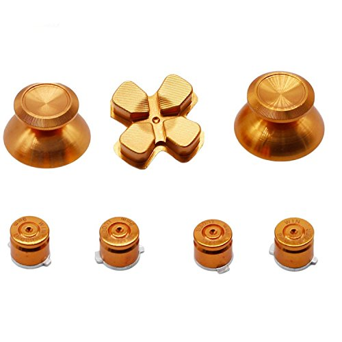 Metal Thumbsticks Kit, ABXY Buttons & Thumb Grip & Chrome D-pad Bullet Buttons for PS4 DualShock 4 (gold)