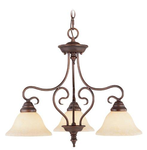 New Imperial Bronze Finish - Livex Lighting 6133-58 Coronado 3 Light Imperial Bronze Hanging Lantern/Flush Mount Chandelier with Vintage Alabaster Glass