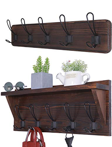 Set of 2 Entryway Coat Rack Wall Mounted with Shelf Rustic Coat Hooks Wall Mounted Wood Hanging Coat Rack Farmhouse Hooks ()