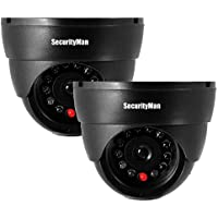 2-PACK SECURITY MAN INDOOR FAKE DUMMY DOME CAMERA WITH LED LIGHT FOR HOME/OFFICE