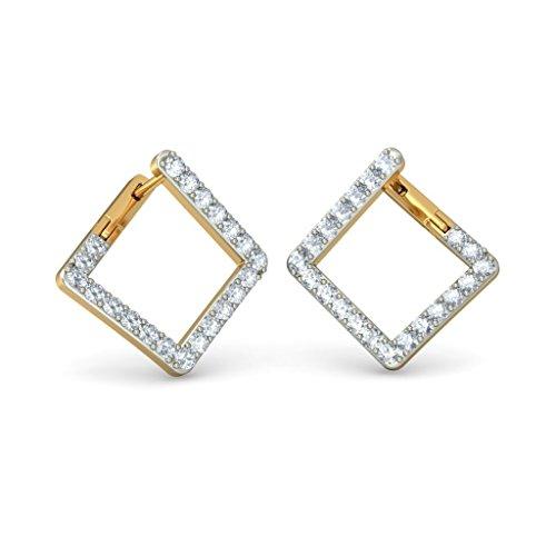 Or jaune 18K 1,05CT TW White-diamond (IJ | SI) Boucles d'oreilles créoles