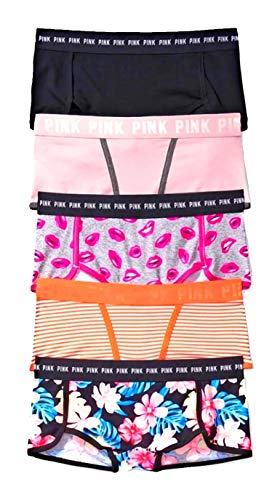 - Victoria Secret Pink Boyshort Logo Panty Set of 5 (Medium)
