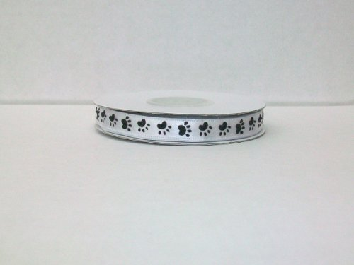 Dog Paw Print Satin Ribbon 3/8 Inch 25 Yards -- White Background/ Black Paw Print -