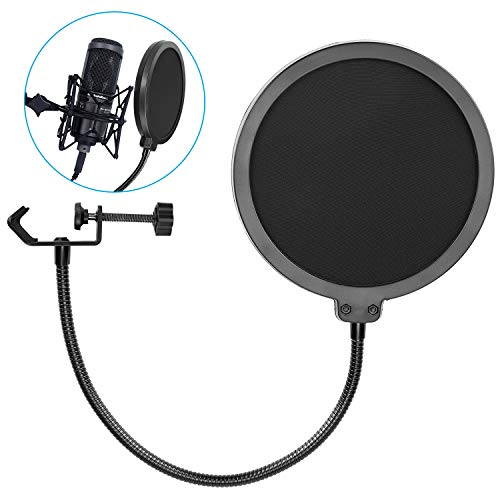 2019 Upgrade Microphone POP Filter, Bee-life 6 inch Dual Layered POP Shield with Flexible 360°Gooseneck Clip Stabilization Arm for Bule Yeti, Studio Mic, Broadcasting and Vocal Recording
