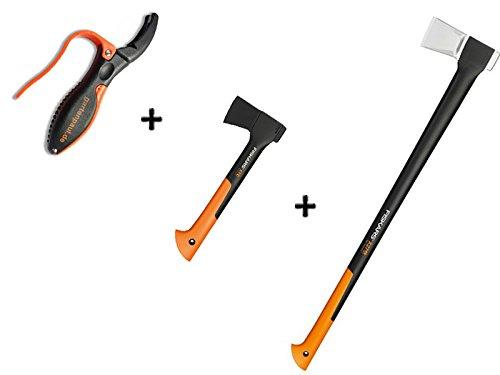 Gartenpaul Set: FISKARS Spaltaxt X27 - XXL + FISKARS Universalaxt X7 - XS + GARTENPAUL Axt- und Messerschärfer