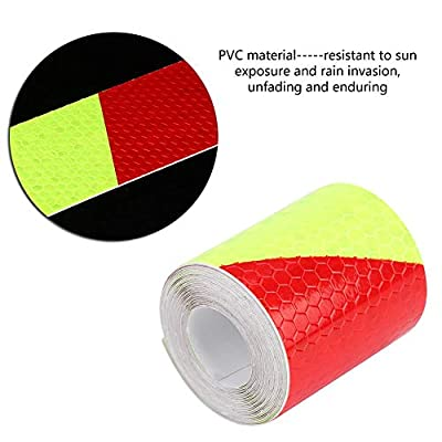 Car Reflective Tape Self Vehicle Adhesive Reflective Stickers Car Warning Decal Safety Warning Body Sticker 5cm × 3m(Fluorescence + Red): Automotive