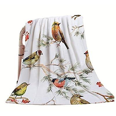 HGOD DESIGNS Bird Throw Blanket,Vintage Watercolor Forest Birds Painting Design Soft Warm Decorative Throw Blankets for Adults Kids Women Men Girls Boys,40