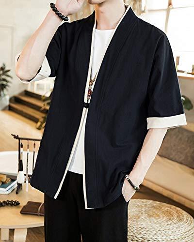 Casual Style Capa Mujeres Kimono Cloak PengGengA Cárdigan Jacket para Chinese Kimono Hombres Verano Japón Negro wOPXq4H