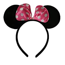 CHuangQi Mickey Mouse Ears Solid Black and Bow Minnie Headband for Boys and Girls Birthday Party or Celebrations (1pcs) (Pink Bows White Dot)