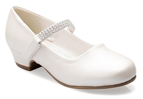 OLIVIA K Girls Kitten Heels Mary Jane Shoes - Round Toe with Rhinestone Strap- Easy on off Velcro Enclosure,Ivory Pu,3 M US Little Kid -