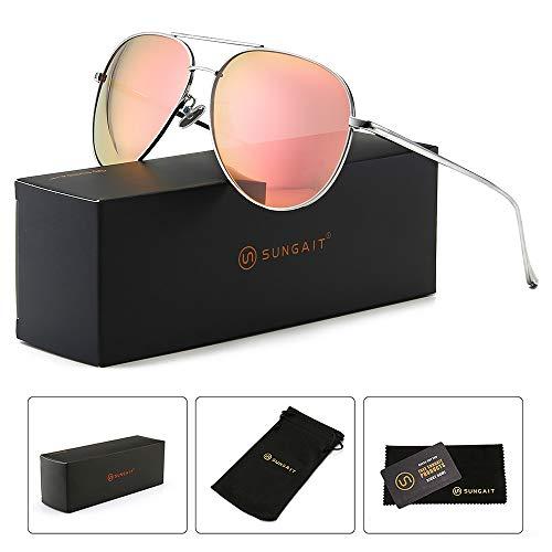 SUNGAIT Women's Lightweight Oversized Aviator sunglasses - Mirrored Polarized Lens (Sliver Frame/Pink Mirror Lens, 60)1603YKF