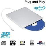 External Blu ray DVD Drive,Ploveyy USB 3.0 Ultra Slim 3D 4K External Blu Ray Player Writer Portable BD/CD/DVD Burner Drive Polished Metal Chrome for Mac OS, Windows 7/8/10,Linxus, Laptop (Silver)