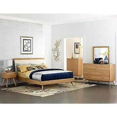 Homelegance Anika Danish Mid-Century Platform Bed, Queen, Light Oak
