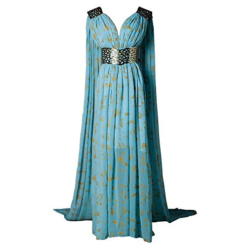 (Xfang Women's Chiffon Dress Halloween Cosplay Costume Blue Long Train)