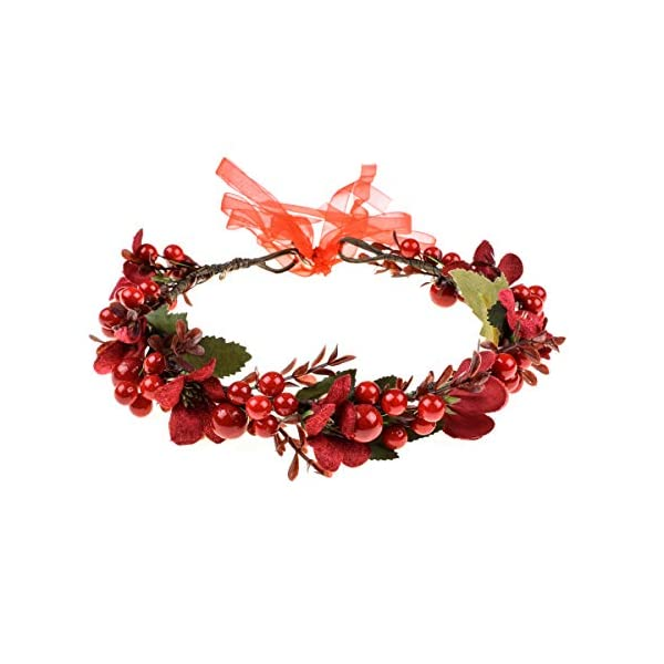 Floral Fall Burgundy Red Rose Winter Flower Crown Bridal Floral Crown Christmas Wreath Halo HC-35 (Red Berries)