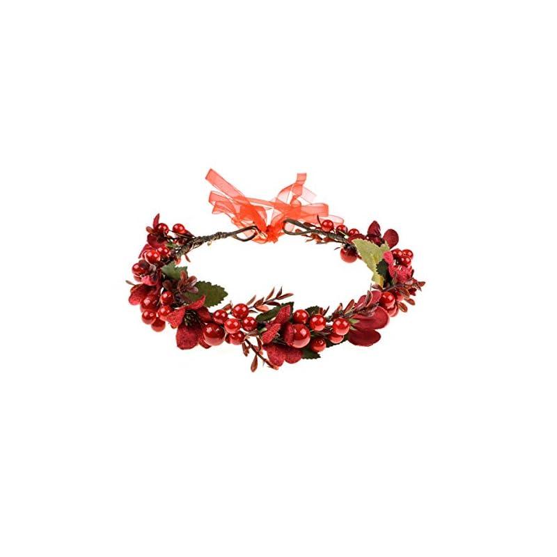 silk flower arrangements floral fall burgundy red rose winter flower crown bridal floral crown christmas wreath halo hc-35 (red berries)