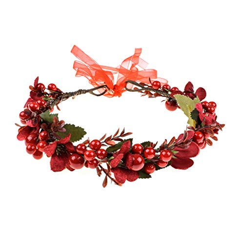 Floral Fall Burgundy Red Rose Winter Flower Crown Bridal Floral Crown Christmas Wreath Halo HC-35 (Red Berries) -