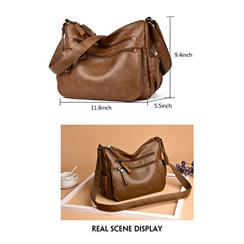 Soft Purses Multi Crossbody Artwell Women Bag Pocket Bag Brown Hobo PU Shoulder Leather and Handbags 4wZSHTqRWS