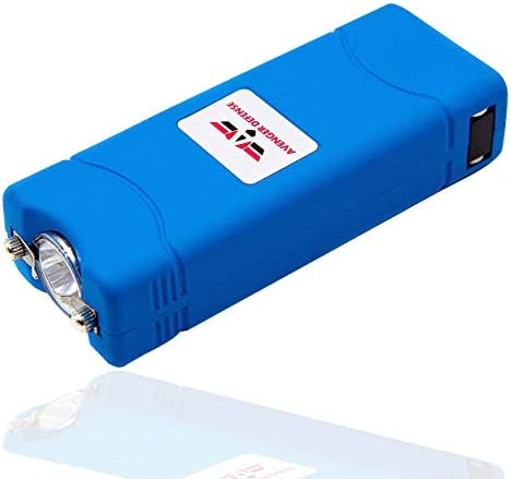 Avenger Defense ADS-50BL Micro Stun Gun for Women 1.25 C Charge Powerful Self Defense Weapon Taser Gun with Rechargeable Flashlight Built in Plug with Compact Design Non-Slip Body, Blue