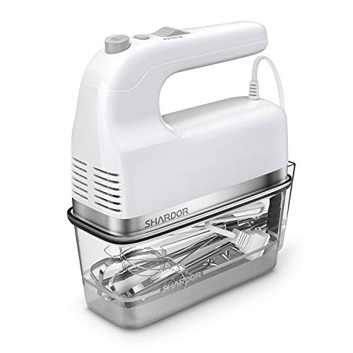 SHARDOR Hand Mixer 350W Electric Hand Mixers For Baking, Include 2 Beaters, 2 Dough Hooks and 1 Whisk, Storage Case