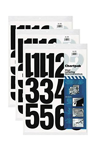 Chartpak 4-inch Black Stick-on Vinyl Numbers (01193), 3 PACKS by Chartpak