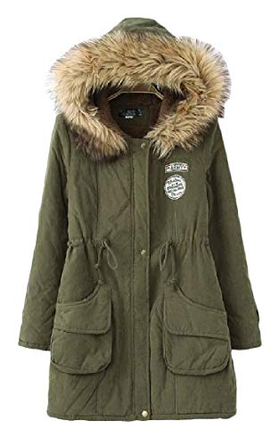 Jacket Parka Pocketed Sleeve Drawstring Long Howme Army Women Green Long Mid Velvet Aq8nxzxWU