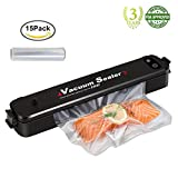 PDR TEC Vacuum Sealers,Automatic Food Sealing Machine for Dry and Moist Food Fresh Preservation Home Vacuum Packaging Safety Black with 15 Packs Sealing Bags…