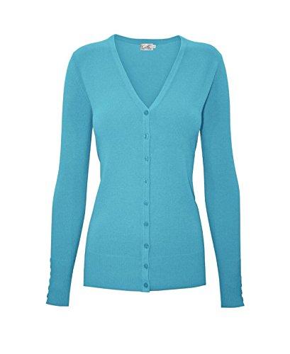 BIADANI Women Button Down Long Sleeve Soft V-Neck Cardigan Sweater Aqua Medium