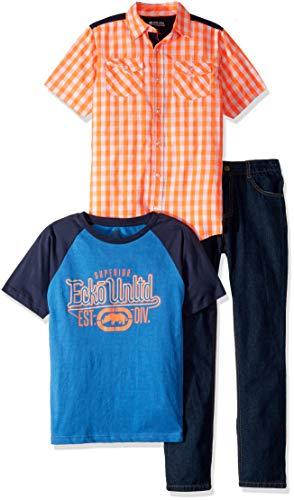 (Ecko Boys' Big 3 Piece Sport, T-Shirt, and Jean Set, Multi Plaid, 12)