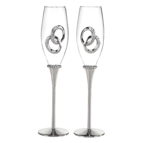 Hortense B. Hewitt Wedding Accessories Two Rings Champagne Flutes, Set of ()