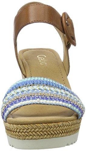 Gabor Fashion Marrón türkis Sandalias con 26 Cuña para oro peanut Mujer Shoes rC0qr