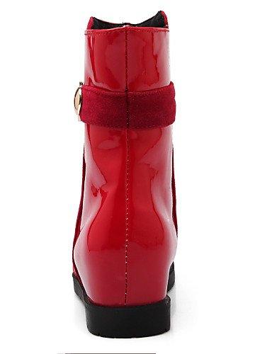 Mujer cuero 5 us10 Vestido uk8 zapatos eu42 eu42 Moda Oklop botas punta 5 Red A Botas De Cuñas La casual Cn42 Eu41 5 8 Red Uk7 us10 Vellón cn43 5 10 Xzz Tacón us9 Redonda Black Cuña Patentado negro uk8 5 5 cn43 CqxtwT