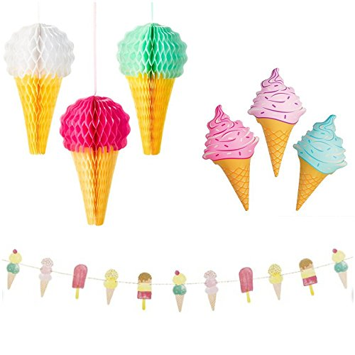 Ice Cream Party Decorations Pack: Includes Hanging Garland banner, 3 Inflatable Ice Cream Cones and 3 honeycomb Hanging Cones